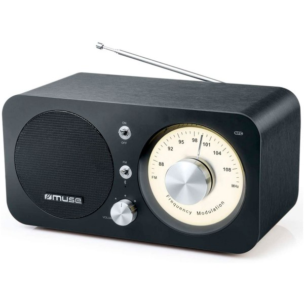 Muse m-095bt negro radio analógica fm con altavoz integrado 5w y bluetooth